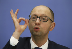 Ukrainian Prime Minister Arseny Yatseniuk attends a news conference in Kiev